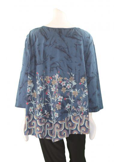 La Blend Blue/Floral Print 3/4 Sleeve Shirt LK0262T