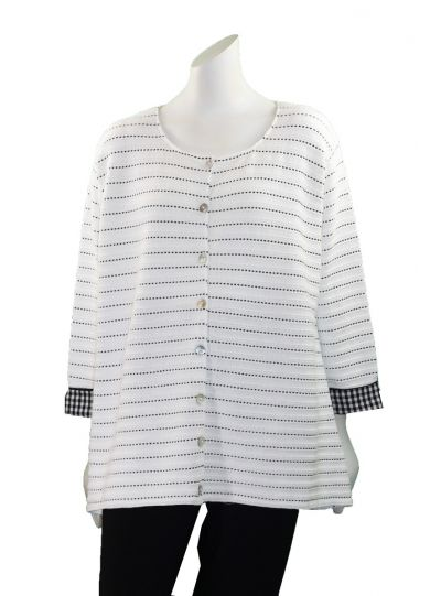 Margaret Winters Plus Size White/Black Cardigan LD822LT