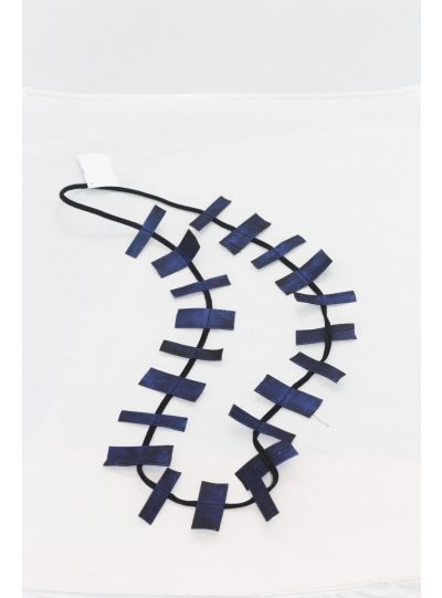 Jianhui Blue Leather Strip Necklace