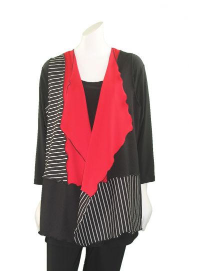 Sondra Sardis Black/Red Long Vest