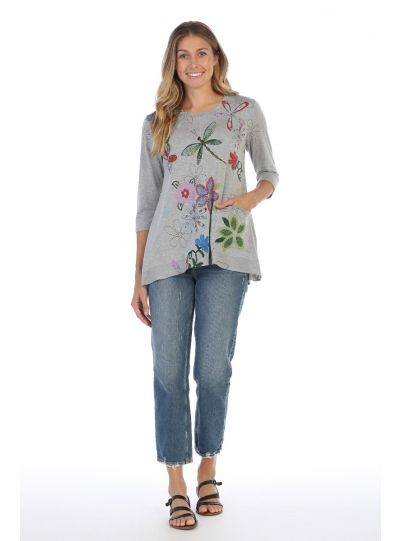 Jess & Jane Plus Size Light Grey Good Times Tunic LT1-1228X