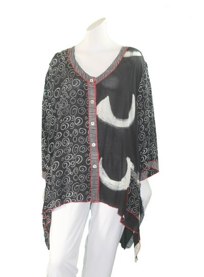 Lyng Designs Plus Size Blk/Wht/Red Button Front Top 1186B
