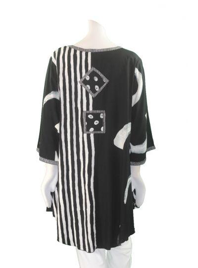 Lyng Designs Plus Size Black/White Sophia Shirt 1232