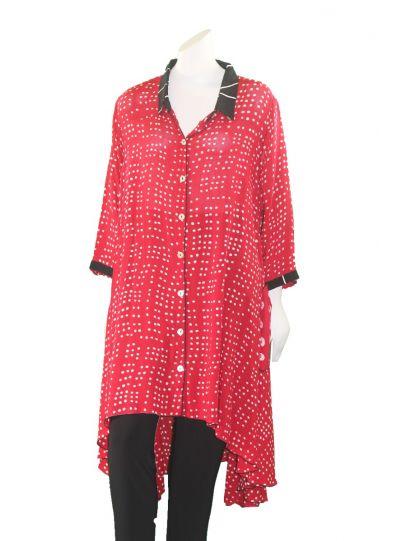 Lyng Designs Plus Size Blk/Wht/Red Meefar Button Front Jacket 1299
