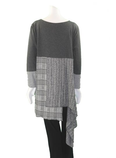 Matti Mamane Black/Grey Uneven Hem Tunic M18100