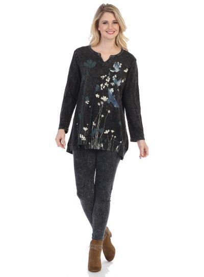 Jess & Jane Plus Size Black Free Fly Printed Cotton Tunic M26-1260X