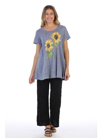 Jess & Jane Plus Size Purple Sunflower Tee M30-1311X