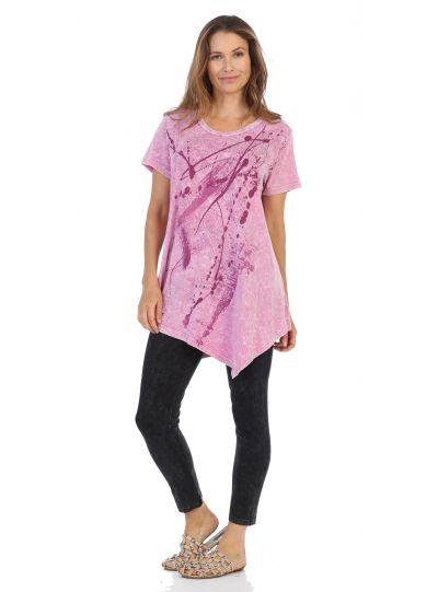 Jess & Jane Plus Size MGT Imagination Print Cotton Short Sleeve Tunic M4-1174X