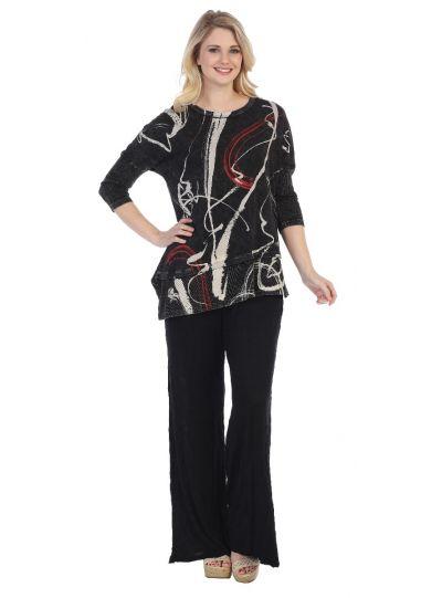 Jess & Jane Plus Size Black Matilda Cotton Tunic M41-1247X
