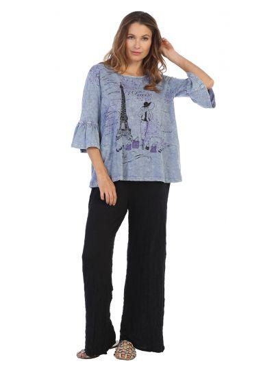 Jess & Jane Plus Size VTB Paris Print Cotton Tunic M47-1189X