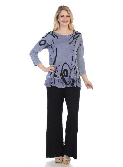 Jess & Jane Plus Size VTB Shasta Print Cotton Tunic M48-1243X