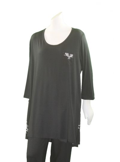 Comfy Plus Size Black/City Print Marilyn Tunic M853