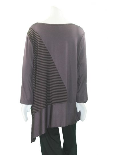 Comfy Plus Size Raisin Striped Clara Tunic M861