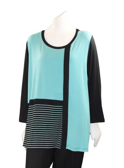 Comfy Plus Size Black/Jade Striped Kate Top M884