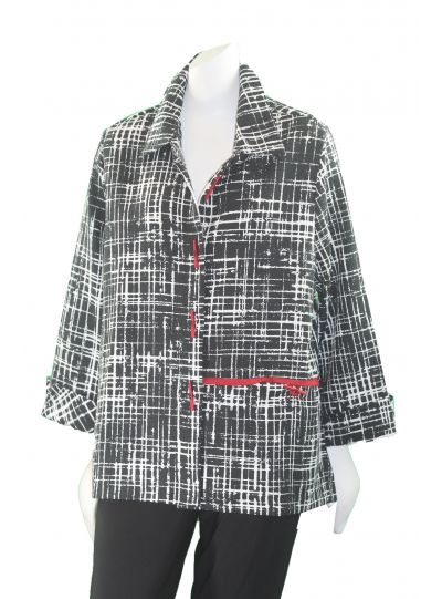 Moonlight Black/White Check Red Button Front Jacket 2342SP