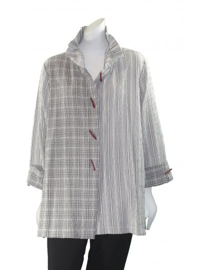 Moonlight Ivory/Grey Striped/Check Button Front Jacket 2417NP