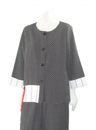Moonlight Black/White Polka Dot Button Front Shirt 2520