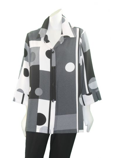 Moonlight Black/White/Grey Circles Button Blouse 2559-BPR