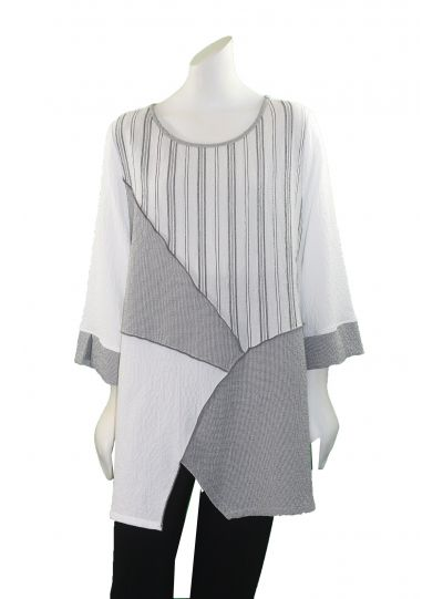 Moonlight White Check/Stripe Pullover Tunic 2563