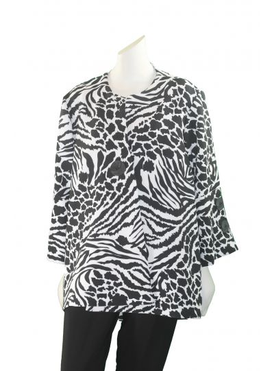 Multiples Plus Size Black/White Print Jacket M18313JW