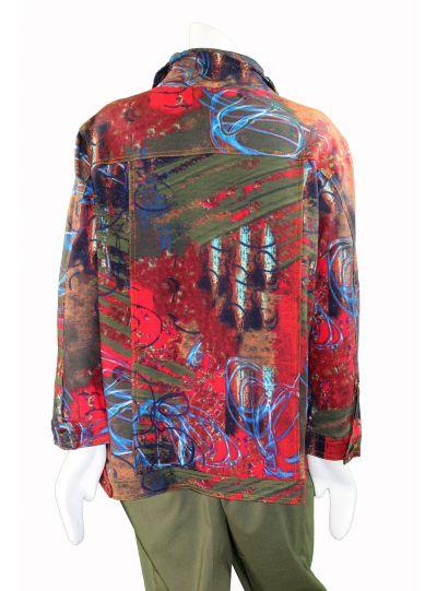 Multiples Plus Size Multi Print Jean Style Jacket M37612JW