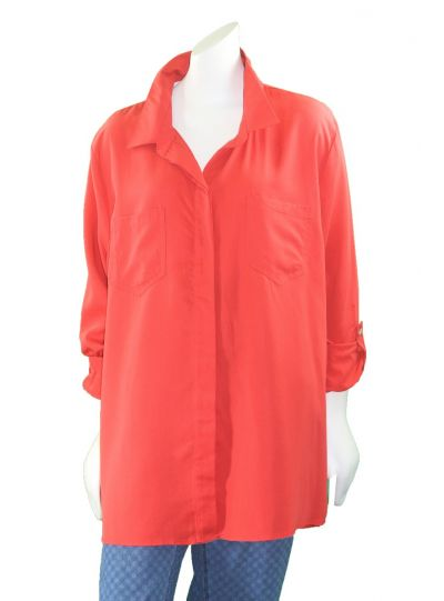 Multiples Plus Size Red Button Front 2 Pocket Shirt M38110BW