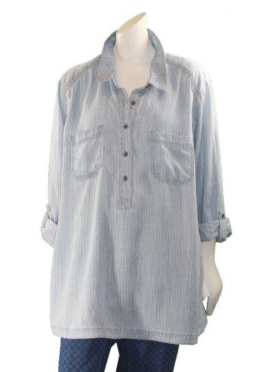 Multiples Plus Size Denim Striped Half Button Shirt M38111TW