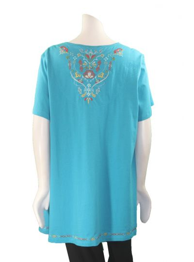 Multiples Plus Size Peacock High/Low Embroidered Top M38206TW