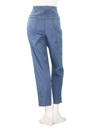 Multiples Plus Size Indigo Check Print Ankle Pant M38709PW