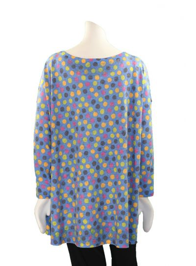Nally & Millie Plus Size Blue Polka Dot Tunic N285474-C