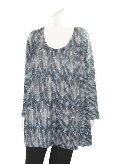 Nally & Millie Plus Size Blue/Olive Zig-Zag Tunic N402574-H