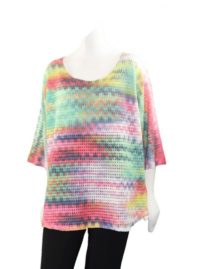 Nally & Millie Plus Size Rainbow Top N495760-C