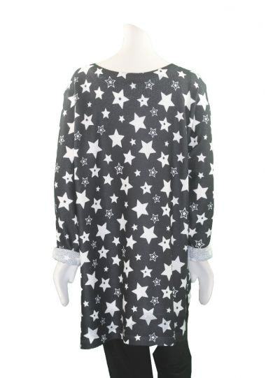 Nally & Millie Plus Size Black Stars Tunic N713438I