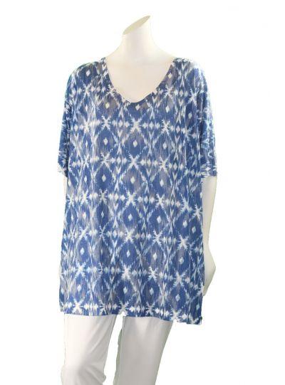 Nally & Millie Plus Size Blue Diamonds T-Shirt N241278-F