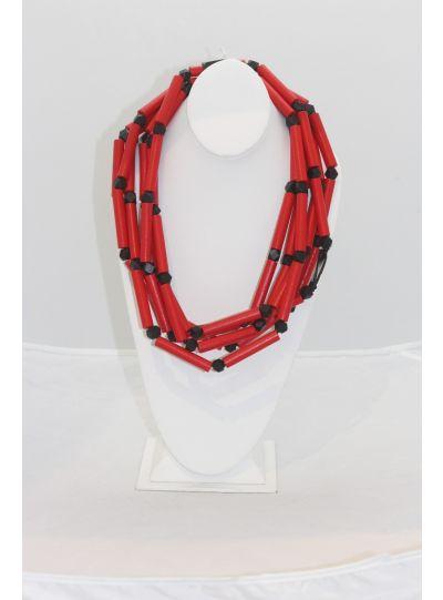 Jianhui Red/Black 3 Strand Necklace