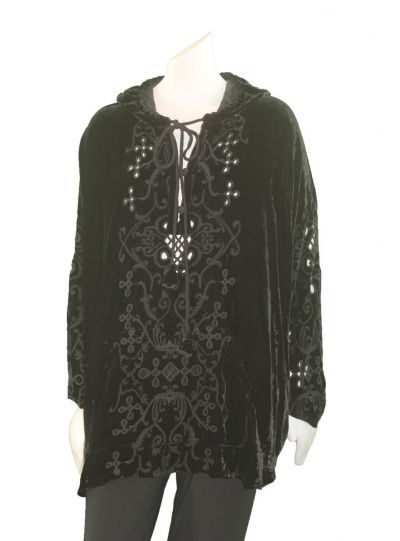 Pete & Greta Black Sonya Velvet Cover Up P13718-8