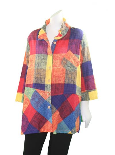 Terra Plus Size Sunset Button Front Shirt P4002