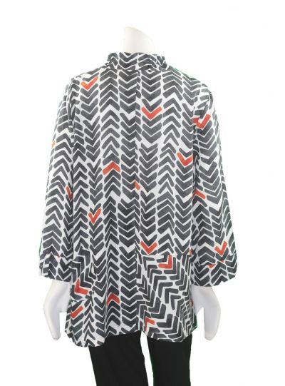 Terra Plus Size Black/White/Red Button Front Shirt P4250
