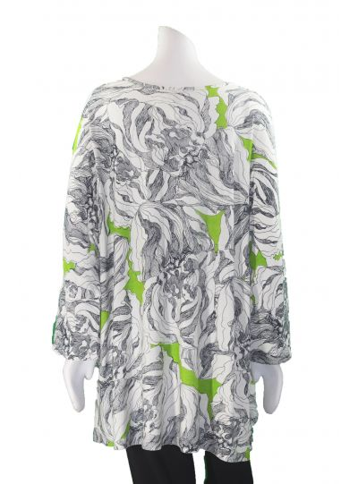 Parsley & Sage Plus Size Cream/Blk/Lime Printed Pullover Top 18T17C4