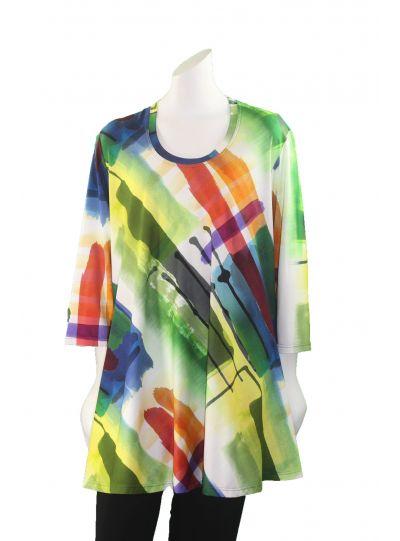 Q'Neel Plus Size Multi Print Pullover Tunic 83032