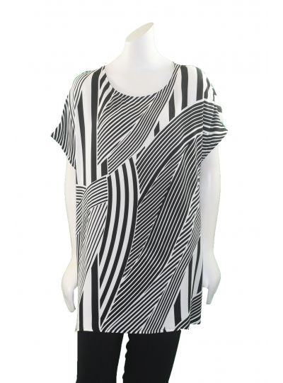 Q'neel Plus Size Black/White Short Sleeve Tunic 84055