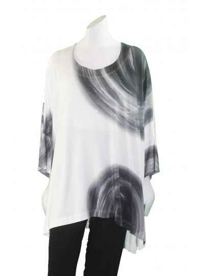 Ralston Over Sized White/Grey Print Dimia Top 45724