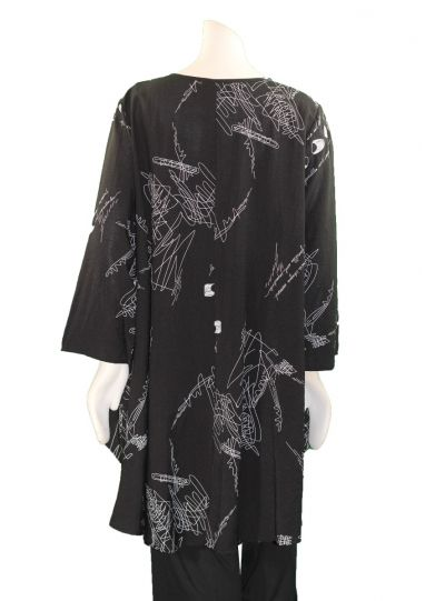 Comfy Plus Size Black Printed Reese Tunic RN101