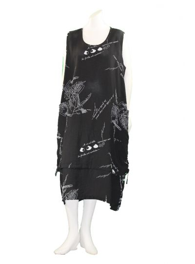 Comfy Plus Size Black Printed Melissa Dress RN301