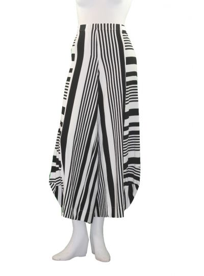 Alembika White/Black Striped Pull On Pant RP311BW