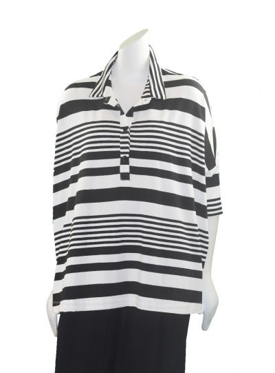 Alembika White/Black Striped Half Button Top RT416BW