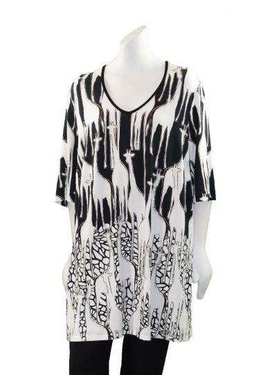 Chalou Plus Size Black/White Giraffe Tee Tunic S8300