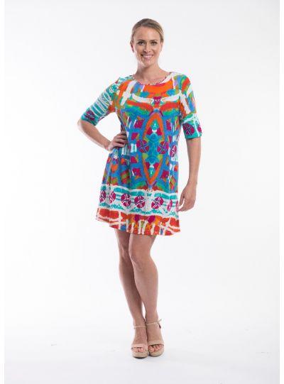 Orientique Plus Size Multi Short Sleeve Dress 51-545