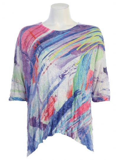 Jess & Jane Plus Size White/Multi Frolic Crushed Top SB2-1340X