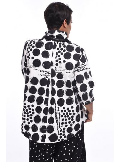 Tulip Gypsy Printed Black/White Polka Dot Blouse SDC334